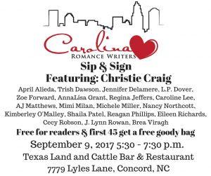 Carolina Romance Writers Sip & Sign